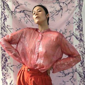 1980's Fragments Sheer Pink Silk Sparkled Blouse
